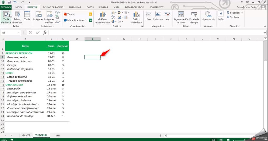 Diagrama de Gantt en Excel PLANTILLA