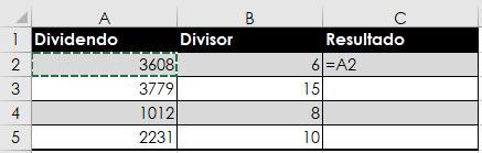 Cómo dividir en Excel con la fórmula de la división
