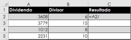 Cómo dividir en Excel